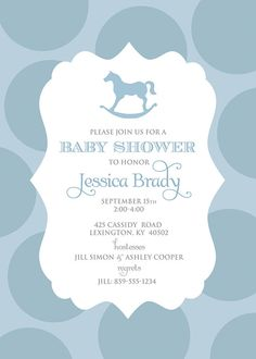 Rocking Horse Baby Shower Invitation DIGITAL FILE by greyink