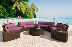 Our Enchanting Alexandra round outdoor wicker sectional can be rearranged many ways. This patio furniture comes with 10 re-arrangeable pieces, including 4 round sectional sofas, 5 wedge tables and a giant coffee table or ottoman! www.customwickerfurniture.com