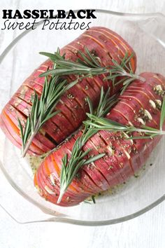 Healthy Garlic and Herb Hasselback Sweet Potatoes