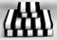Stripe Sheet Set  -  size: Queen  -  color: Black & White  -  by: Sin in Linen  -  $129.00