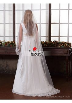 Wedding Veil One Layer Tulle Bridal Veil Cathedral Length Applique Edge No Comb Style BV060 - Wedding Veil