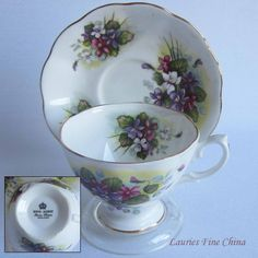 Free Shipping Royal Albert Un-Named Multi Coloured Violets Bone China Tea Cup and Saucer by LauriesFineChina on Etsy