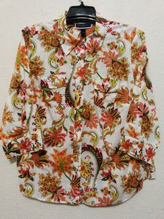 Karen Scott - Women's Top - Size 1X - Multi-color Blouse with 3/4 Sleeves - Button Front Shirt  #KarenScott #ButtonDownShirt  ..... Visit all of our online locations ..... (www.stores.eBay.com/variety-on-a-budget) ..... (www.amazon.com/shops/Variety-on-a-Budget) ..... (www.etsy.com/shop/VarietyonaBudget) ..... (www.bonanza.com/booths/VarietyonaBudget ) .....(www.facebook.com/VarietyonaBudgetOnlineShopping)