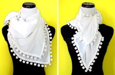 super-easy DIY pompom scarf. All you need is trim, fabric, matching thread, a sewing machine, and an hour.