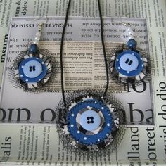 SALE Up-Cycled Blue and Black Fabric Matching Set Necklace & Earrings £8.00