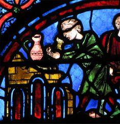 Cathédrale de Bourges, vitrail des potiers . Sur un autre vitrail se voit la création d'Adam, comme façonné sur un tour de potier par Dieu. Est-ce un clin d'oeil à ces potiers d'Henrichemont et de la Borne, proches de Bourges, et à leur argile réputée ?