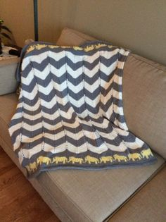 Marching Elephants Baby Blanket - Free Pattern
