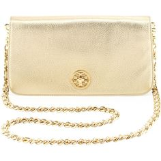 Tory Burch Adalyn Metallic Clutch Bag, Gold (460 CAD) ❤ liked on Polyvore