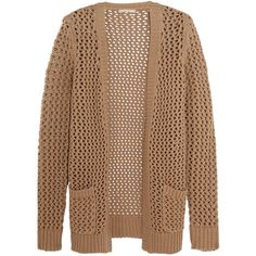 Michael Kors Collection Open-knit cashmere and cotton-blend cardigan ($320) ❤ liked on Polyvore featuring tops, cardigans, outerwear, sweaters, sand, open knit top, beige cardigan, cashmere tops, beige top and open stitch cardigan