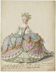 Fashion plates of Versailles Courts fashions. Rococo Fashion, Victorian Fashion, Vintage Fashion, Marie Antoinette, Mode Rococo, Costume Français, Centre De Documentation, Retro, 18th Century Costume