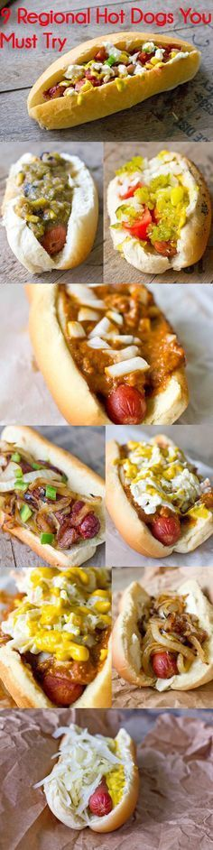 From classic Los Angeles Street Dog: Bacon wrapped with grilled onions and bell peppers to the Detroit Chili Dog, you need to try these 9 regional hot dogs. Hot Dogs, Cupuacu, Burger Dogs, Chili Dogs, Hot Dog Recipes, Game Day Food, Mets, Sandwiches, Love Food