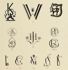 "Art deco monogrames from the public domain ebook, ""600 Monogramme und zeichen  (1920)"". Download as epub, pdf or kindle format here: https://archive.org/stream/600monogrammeund00darm"