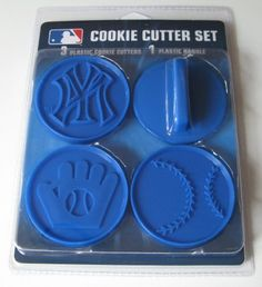 MLB New York Yankees Officially Licensed Set of Cookie Cutters by Boelter Brands. $9.06. Plastic. Officially Licensed. Officially licensed cookie cutter baking set.  Includes detachable handle to use with the three different molds featuring a baseball, glove and team logo.