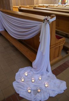 Love how the back of the church pew bench is highlighted with a simple drape. - Love how the back of the church pew bench is highlighted with a simple drape. Love how the back of the church pew bench is highlighted with a simple drape. Wedding Pews, Wedding Chairs, Wedding Table, Wedding Bouquets, Wedding Church Aisle, Church Weddings, Pew Decorations, Church Wedding Decorations, Wedding Centerpieces