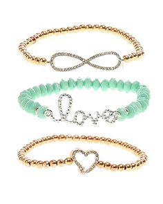 rue21 : INFINITY LOVE HEART bracelet. Love the middle one. 6.99