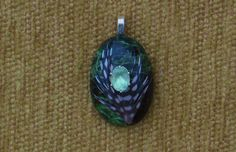 Unknown black and green cabochon with feather and genuine prasiolite pendant with sterling silver chain by GodgivenTalent on Etsy