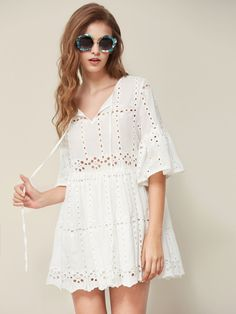 SheIn offers Tie Neck Fluted Sleeve Eyelet Embroidered Smock Dress & more to fit your fashionable needs. Sexy White Dress, White Dress Summer, White Mini Dress, Frock Design, Short Frocks, Sexy Summer Dresses, Sexy Dresses, Boho Mini Dress, Smock Dress
