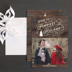 Vintage typography holiday photo cards by Elli featuring a rustic vintage holiday design with your choice of a rustic woodgrain, chalkboard, or red background and vintage typography holiday greeting. Christmas Photo Cards, Christmas Greeting Cards, Christmas Greetings, Wedding Stationery, Wedding Invitations, Vintage Typography, Cool Patterns, Bold Colors, Card Ideas