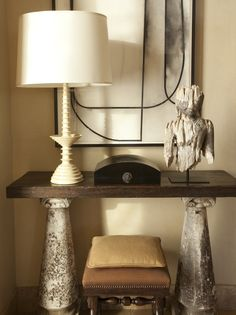 Gary Friedman, Lichen covered leather Pedestal table in entry..Wonderful! Via the style saloniste