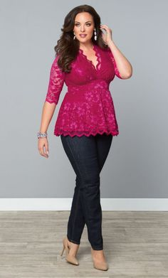 Linden Lace Top - Pink Passion at Curvalicious Clothes www.curvaliciousclothes.com TAKE 15% OFF Use code: SVE15 at checkout