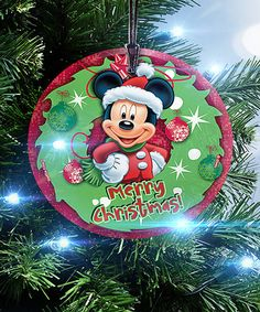 Look at this #zulilyfind! Mickey Mouse Wreath Glass StarFire Prints™ Ornament #zulilyfinds