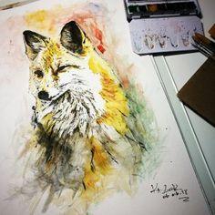 Fox Watercolor Painting by Ka L-O-K | 20180606  ........ #fox #watercolor #aquarell #art #kalokmortalis