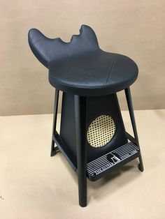 Black leather Guitar Stool with built in tube amp. Doesn't get any better this if you're looking for that perfect seat to get your Jam on!