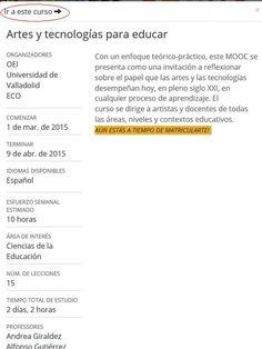Registro en el Campus ECO en el que se desarrolla el MOOC Artes y Tecnologías para Educar