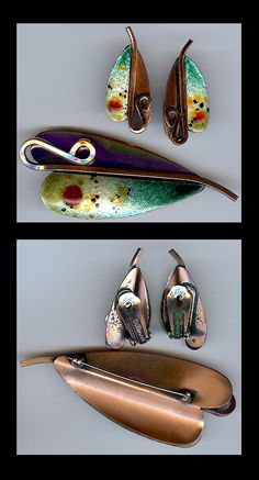 matisse copper enamel leaf pin and earring set