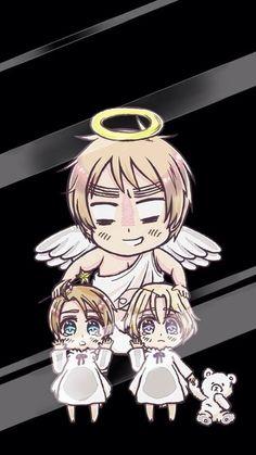 Britannia Angel With Chibimerica And Chibi Canada From Hetalia Anime Lock Screen Wallpaper