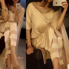 email sajsacouture@gmail.com to place your order on this sheer cream colour long kammez and pant suit