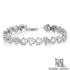 Aspca Tender Voices Silver 1/10ct TDW Diamond Paw Bracelet