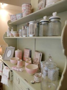 How beautiful is this farmhouse painted dresser with all the pastel accessories, definitely the best way to do shabby chic