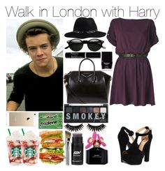 """Walk in London with Harry"" by praradise ❤ liked on Polyvore featuring ANNIE, Luichiny, Pieces, Givenchy, Retrò, Butter London, Boohoo and Marc Jacobs"