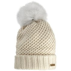 Burberry Fur Pom-Pom Beanie ($450) ❤ liked on Polyvore featuring accessories, hats, burberry, pom beanie, beanie cap, fur pom pom hat, burberry hat and beanie cap hat