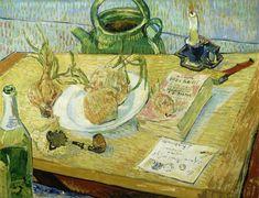 Vincent van Gogh: Stilleven rond een bord met uien
