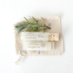 cutest little gift set / all natural lip balm and bath salt gift set in muslin bag / $6.80, via Etsy.