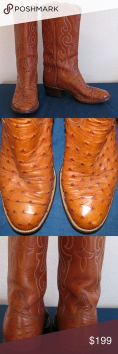 Luchesse ladies ostrich boots Full quill ostrich boots sz 7c,excellent condition, wear on soles Lucchese Shoes Heeled Boots