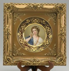 """ROYAL VIENNA PORTRAIT PLATE """"Pompadour"""" in gilded frame, early 20th C. Signed Wagner, beehive mark"""