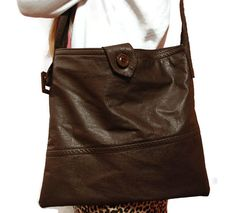 Dark brown/cocoa brown leather bag /upcycled genuine by leonorafi