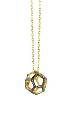 Hollow Dodecahedron Pendant In Yellow Gold And White Diamonds by Noor Fares for Preorder on Moda Operandi