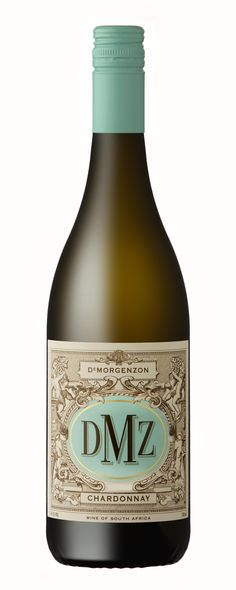 2008 DMZ (De Morgenzon) Chardonnay Stellenbosch South Africa - Delicious and non-acidic. Perfect for summer! Wine Packaging, Packaging Design, South African Wine, Drink Tags, Wine Label Design, Sauvignon Blanc, White Wine, Whiskey Bottle, Wine Labels