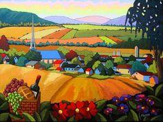 Romance - Louise Marion, artiste peintre, paysage urbain, Quebec, couleurs
