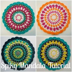 Spiky Mandala Tutorial & Crochet Pattern...great detailed pics, endless color choices!