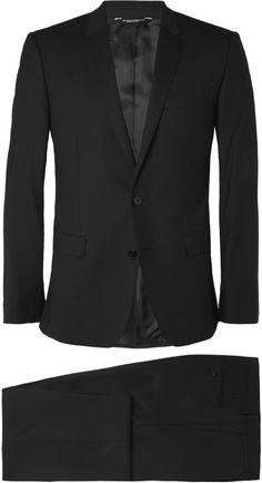 Dolce & Gabbana Black Martini Slim-Fit Wool-Blend Suit Expensive Suits, Black Two Piece, Black Wool, Pocket Square, Mens Suits, Martini, Wool Blend, Suit Jacket, Slim