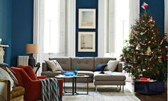 blue and white walls...I love the west elm LIVING ROOM LOOKS on westelm.com