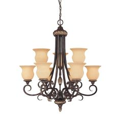 "savoy house towne lake 9-light    Our Price:$824.00    Qty.      .  ..  .    ...  Add to My Wish List   Email a Friend  Print Page     Description  Specs  Reviews  .      .    .  .      Collection:Towne Lake  Brand: Savoy House   Finish: Moroccan Bronze   Style: European   Height: 34.25""   Width: 30.25""   Weight: 27.94 lbs.   Type of Bulbs: Incandescent   Number of Bulbs: 9   Max Wattage: 60   Voltage: 120"