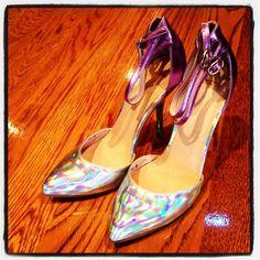 Asos silver metallic ankle strap heels