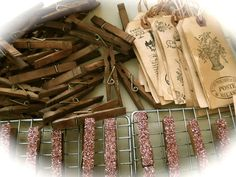 The Beehive Cottage: Aging clothespins & tags!