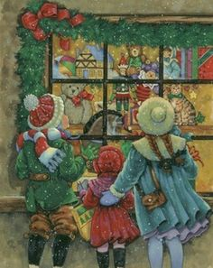 Christmas Toy Store Window By Donna Race